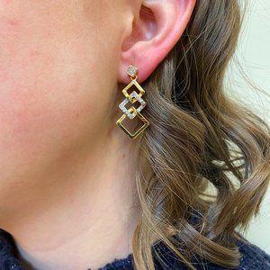 Gold Rhinestone Dangle Earrings